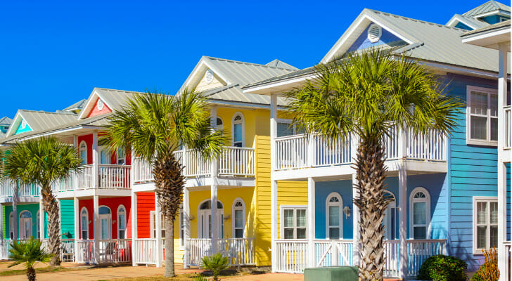 Image shows a row of colorful beachfront properties. SmartAsset analyzed various data points to conduct its latest study on the most affordable beach towns.
