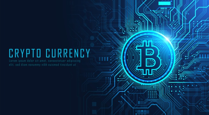Image shows a conceptual illustration of cryptocurrency with the Bitcoin logo in blue text and design. Bitcoins futures can be another possibility for cryptocurrency investors to consider.