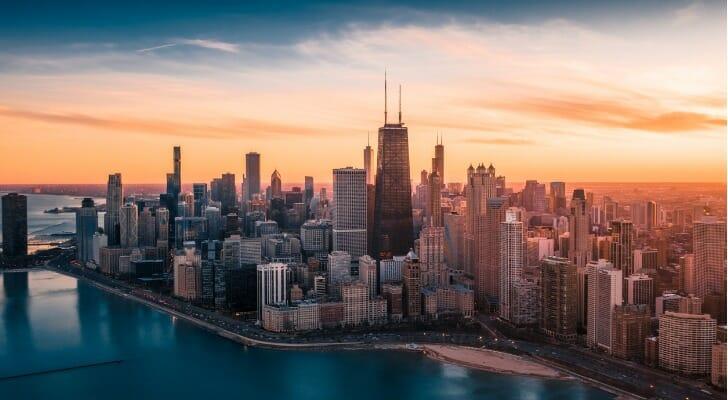 Chicago skyline at sunset