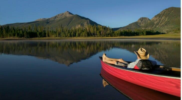 Man in a canoe in Arkansas