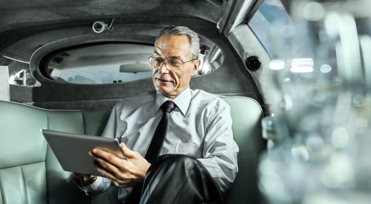 Businessman in a limousine