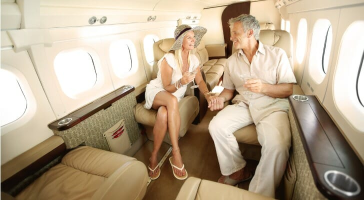 Retired couple inside their own private jet