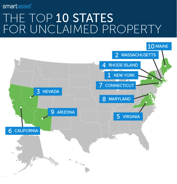 Map showing The Top States for Unclaimed Property
