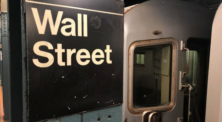 A photo of the New York City subway stop under Wall Street.