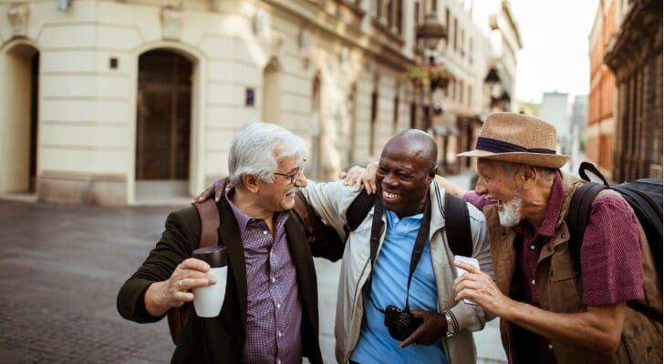 Three retired men on vacation