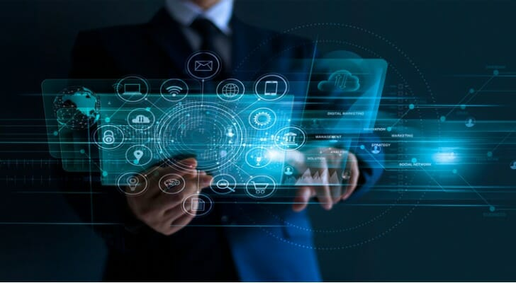 Businessman using his digital investing platform