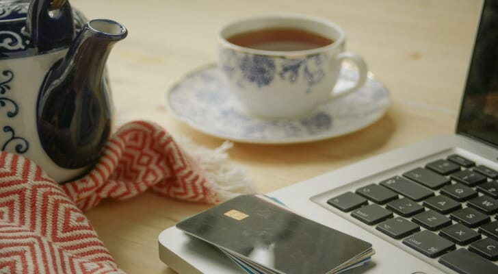 PC, smartphone and cup of tea