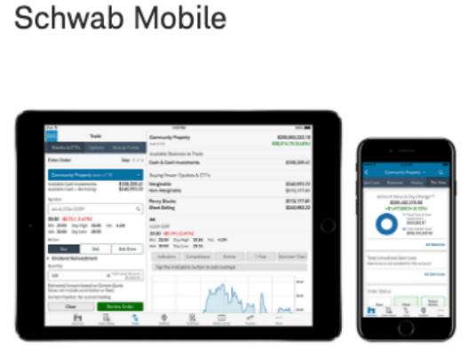 Charles Schwab's app works on smartphones, iPads and Apple watches