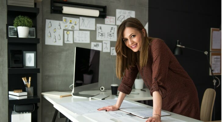 Self-employed designer contemplates retirement plan options such as solo 401(k)s and SEP IRAs