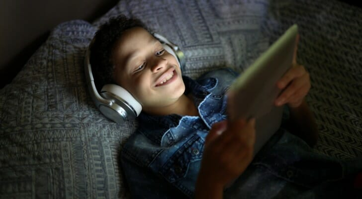 Boy watching a streaming service