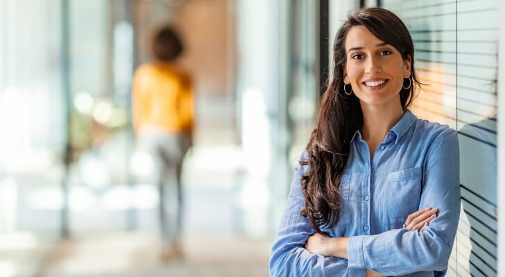 Female financial advisor at her office