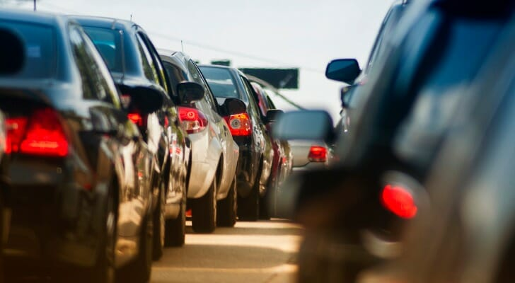Cars lined in up a traffic jam. For the fifth year in a row, SmartAsset compiled a list of the states with the worst drivers.