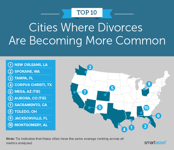 """Image is a map by SmartAsset titled """"Top 10 Cities Where Divorces Are Becoming More Common."""""""