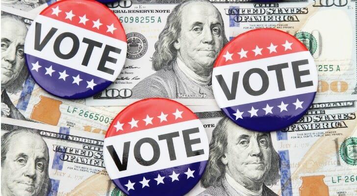 Political campaign buttons
