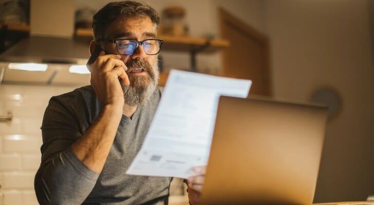 Man works on his tax returns