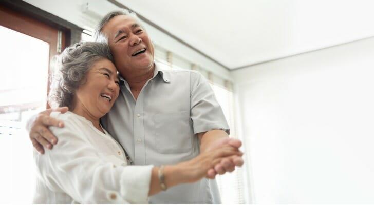 Asian couple celebrates their retirement