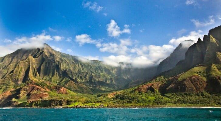 The Na Pali coast and the Waimea Canyon of Kauai, Hawaii