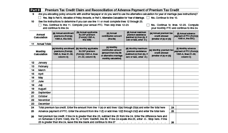 Form 8962 (IRS) - Calculate Your Premium Tax Credit (PTC