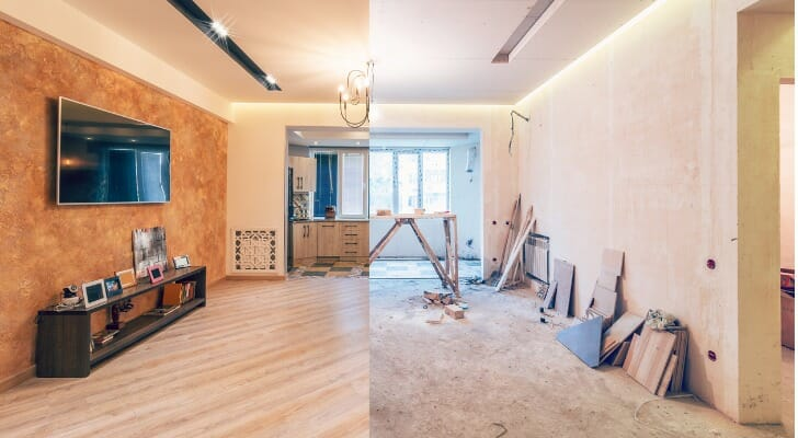 Before and after photos of a house interior upgrade
