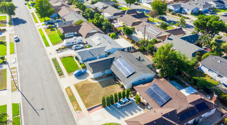 Image shows an aerial view of houses in a residential neighborhood. SmartAsset discovered the most livable cities in the U.S. based on a number of factors including walkability, crime rates and housing costs.