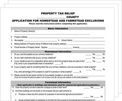 Property tax relief document